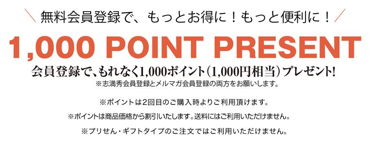 会員登録で、もれなく1000ポイント(1000円相当)プレゼント